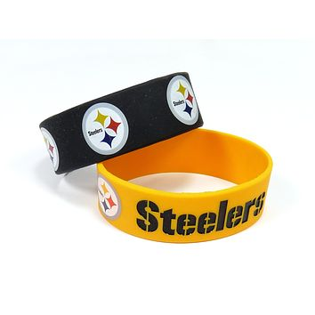Pittsburgh Steelers Bracelets - 2 Pack Wide