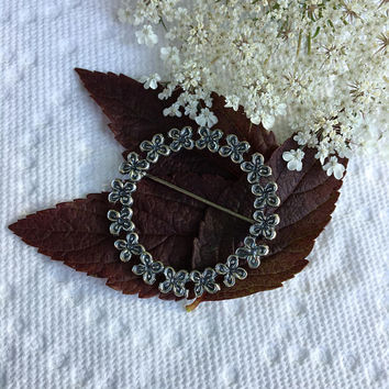 Sterling Silver Floral Circle Brooch Vintage Beau Linked Flowers Pin Dainty Tiny Cutout Flowers Wreath Jewelry Beau Signed Collectible