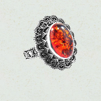 Baltic Amber Flower Sterling Silver Ring
