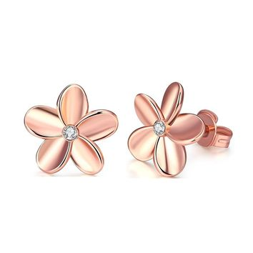 14K Gold Plated Cubic Zirconia & Rose Gold Plated Rhinestone Flower Stud Earring Set