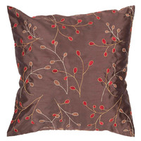 Surya Blossom Fresh Floral Pillow,  Brown, Red