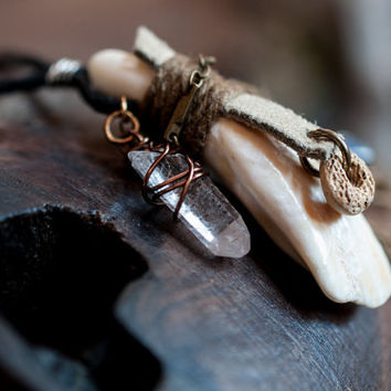 The Relic of the Buffalo, Primitive Tooth Talisman Amulet, Protective Warrior Tribal Necklace, Earthy Natural Quartz Crystal Jewelry