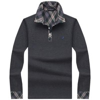 Classic Mens Polo Shirt Striped Long Sleeve Blends Male Brand Clothing Men Business Slim Fit Polo Shirts Plus Size M-5XL