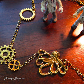 Kraken Octopus Necklace, Steampunk Jewelry,Steampunk Bride,Alternative Wedding, Metal Head, Zombie Killer,Antiqued Gold Tone Metal,Goth