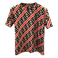 Fendi Fashion New More Letter Print Women Men Loose leisure Top T-Shirt Red