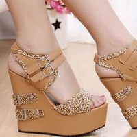 Leopard Wedge Sandals  from sniksa