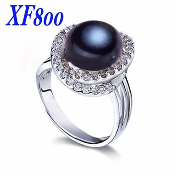 2016 fine pearl jewelry , elegant 9-10mm natural black pearl  rings. women stone wedding bands  R09