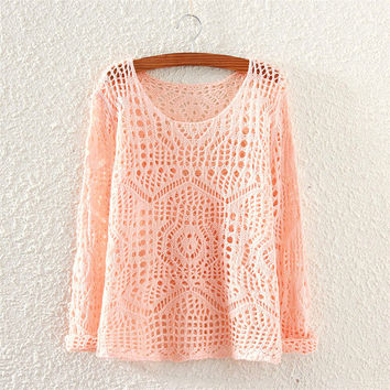 Hollow Out Knit Tops Slim Sweater Women's Fashion Jacket [9017747076]