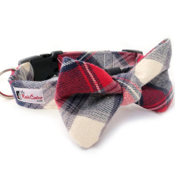 Plaid Flannel Dog Collar Red, Blue, Cream Plaid (Collar Only - Matching Bow Tie Available Separately)