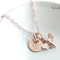 Little Rose Gold Bee Necklace, Bumble Bee, Honeybee, Rose Gold Bee, Bee Jewelry, Dainty Mom Jewelry, Charm Necklace, Mother's Necklace