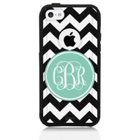 iPhone 5c Case [Black] Mint Chevron Monogram [Dual Layer] UnnitoTM *1 Year Warranty* Case Protective [Custom] Commuter Protection Cover [Hybrid]