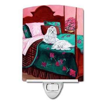 Maltese and puppy waiting on you Ceramic Night Light 7110CNL