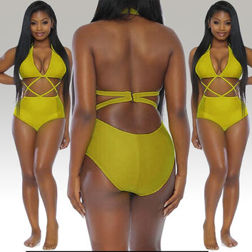 Yellow  Cross Strappy Cutout Halter Swimsuit