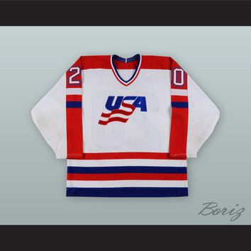 Allen Bourbeau 20 USA National Team White Hockey Jersey