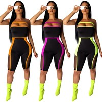 Women Sexy Neon Strapless Mesh Splicing Jumpsuit Romper