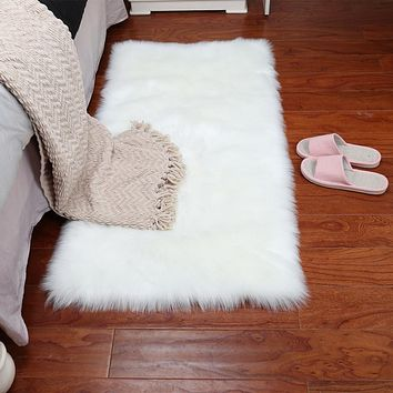 Grey Sheepskin Chair Cover Warm Hairy Carpet Seat Pad long Skin Fur Plain Fluffy Area Rugs Washable square colors