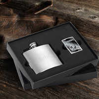 NFL Lighter and Brushed Flask Gift Set - Raiders