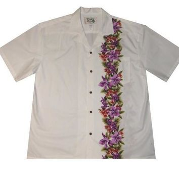 KY's Mens White Button Down Hawaiian Shirt with Purple Hibiscus Border