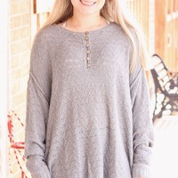 {Grey} Button Me Oversized Knit Sweater