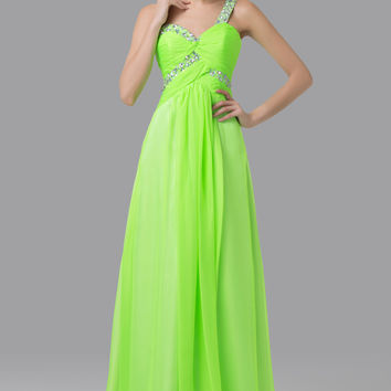 Green One Shoulder Beads Embellished  Chiffon Maxi Dress