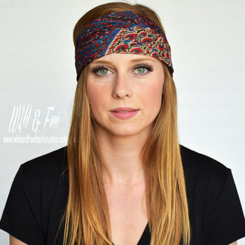 Boho bandana headwrap, Ladies fashion headscarf, Womens fashion scarf, Bohemian turban, Hippy headband, Chiffon kirchief