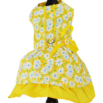 Daisy Print Dog Harness Dress