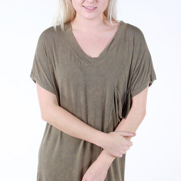 Lucky Find Tunic - Olive Acid Wash