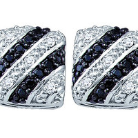 Black Diamond Fashion Earrings in 10k White Gold 0.27 ctw