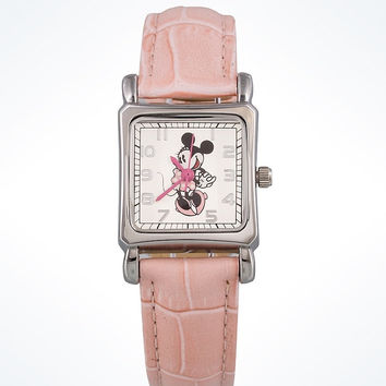 Disney Parks Pink Minnie Mouse Leather Watch New with Case