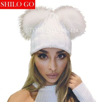 Free Shipping 2016 Fashion New Autumn Winter Women High Quality Wool Double Fox Fur Ball Warm Hat & Pom Poms Skullies Beanies