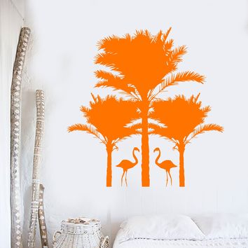 Vinyl Wall Decal Palm Tropical Tree Bird Nature Flamingo Beach Stickers Unique Gift (661ig)
