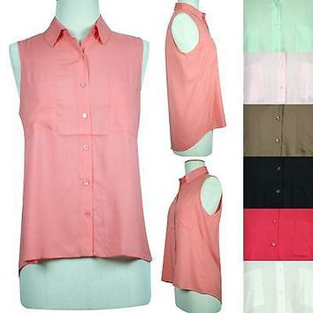 Dual Pocket Sheer Chiffon Sleeveless Button Front Hi-Low Hem Shirt Top Blouse
