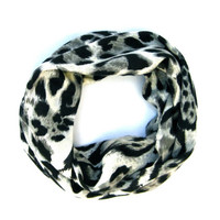 Girls Leopard Scarf Cute Toddler Scarf Childs Winter Scarf Cream Grey Black Cute Holiday Gift Ready To Ship
