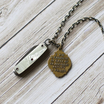 Weight of the World Necklace ~ Vintage Pocket Knife & Vintage Saint Christoper Medal