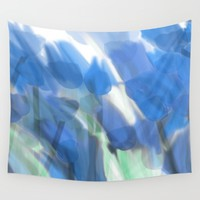 Meadow Flowers  In Soft Blue Wall Tapestry by Jen Warmuth Art And Design