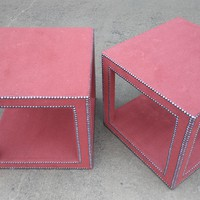 #2535 - Pair of Fully Upholstered Lamp Tables By Century Furniture - Red