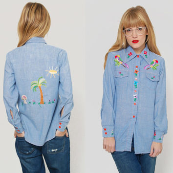Vintage 70s EMBROIDERED Shirt Novelty Denim Shirt w/ FLOWER &  BIRDS Western Indie Hipster Shirt