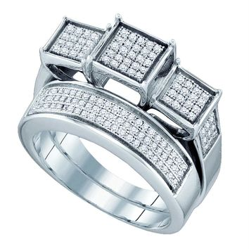 Sterling Silver Women's Round Diamond Triple Cluster Bridal Wedding Ring Band Set 1-2 Cttw - FREE Shipping (US/CAN)