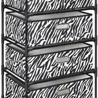 Altra Furniture 4-Bin Zebra Print Fabric Storage End Table:Amazon:Home & Kitchen