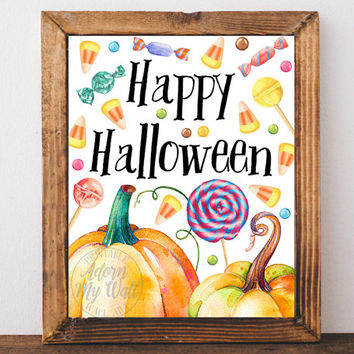Halloween print, printable, art, sign, Halloween decoration, Happy Halloween, poster, fall decoration,  trick or treat, download, 11x14 8x10