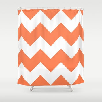 Coral Chevron Shower Curtain by CreativeAngel | Society6