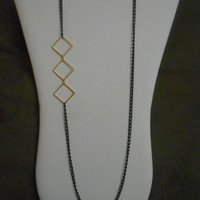 30 inch long Black Chain and Gold Diamond shaped Chain Asymmetrical Necklace