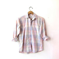 Vintage Diane Van Furstenberg shirt. Pastel plaid shirt. DVF button up shirt. Women's xs small.
