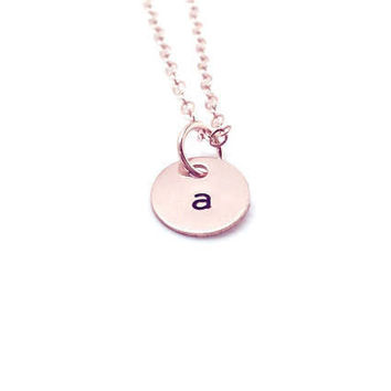 Rose Gold Initial Jewelry, 14K Gold Filled, Handstamped Jewelry, Everyday Necklace, Initial Jewelry, Gifts for her, Rose Gold Jewelry