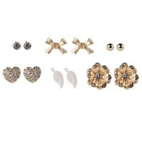 Set of 6 Stud Earrings with Flowers Leaf and Heart