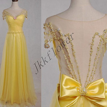 Long Dark Yellow Backless Prom Dresses Beaded Prom Dresses,Tulle Organza Evening Dresses,Party Dresses,Bridesmaid Dresses