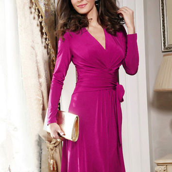Pink V-Neck Long Sleeve Waist Wrap Midi Dress