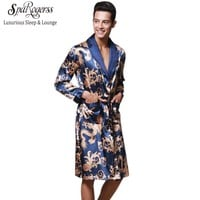 Luxury Men Robe 2017 Couple Bathrobe Brand Faux Silk Robes Long Home Clothing Male Sleep Robe XXL 5 Colors Summer Style WP032