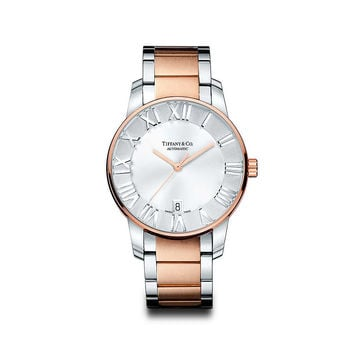 Tiffany & Co. - Atlas® dome watch in stainless steel and 18k rose gold, mechanical movement.