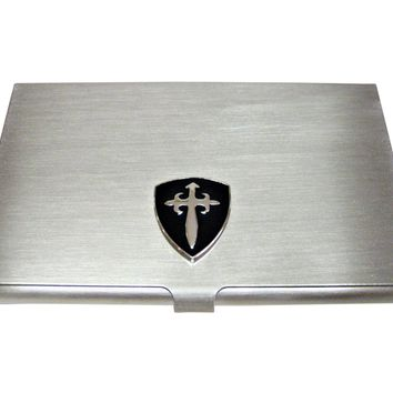 Black Medieval Shield Business Card Holder